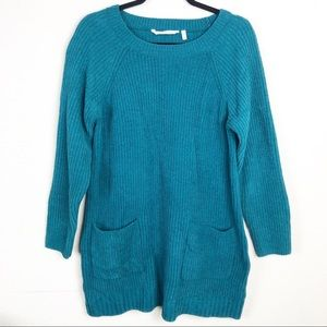 Soft Surroundings   teal chenille pocket sweater